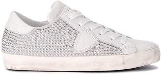 Philippe Model Paris White Leather And Suede Sneaker With Studs