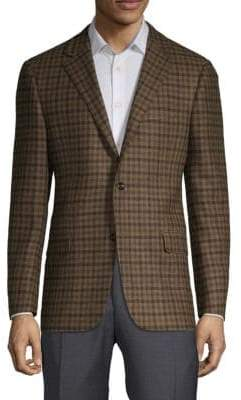 Hickey Freeman Plaid Long-Sleeve Sportcoat