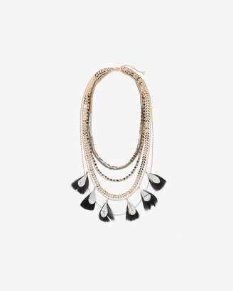 Express Layered Bead & Feather Statement Necklace