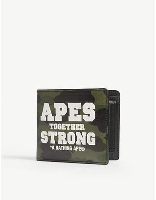 A Bathing Ape Camouflage slogan leather wallet