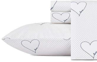 ED Ellen Degeneres Love Hearts Navy Queen Sheet Set Bedding