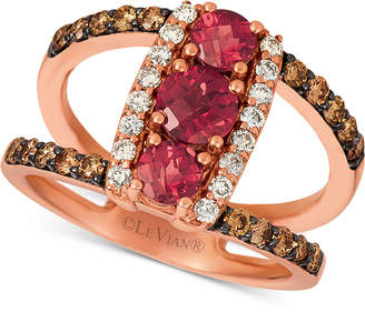 LeVian Le Vian Rhodolite (1 ct. t.w.) & NudeTM & ChocolateTM Diamond (5/8 ct. t.w.) Statement Ring in 14k Rose Gold