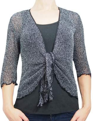 L'Affair Ladies Crochet Glitter and Plain Stretch Lace Fish Net Bali Tie at Waist Bolero Shrug Open Cardigan