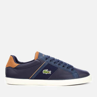 3cb6417d78a7 Lacoste Men s Fairlead 119 1 Leather Vulcanised Trainers - Navy Light Brown