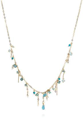 Sweet Pea Blue Topaz and Turquoise Pogo Punk Beaded Necklace - Yellow Gold
