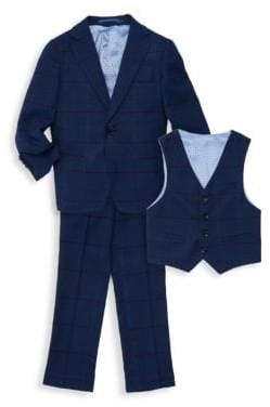 Little Boy's & Boy's Three-Piece Checker Suit Jacket, Vest & Pants Set
