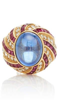 Vintage Illario 18K Ceylon Cabochon Sapphire Ring