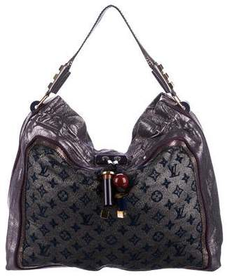 Louis Vuitton Snakeskin-Trimmed Monogram Lurex Bluebird Tote