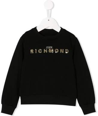 John Richmond Junior スパンコールロゴ スウェットシャツ
