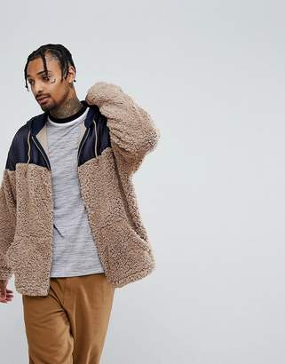 Asos Oversized Zip Up Hoodie With Woven And Borg Panelling