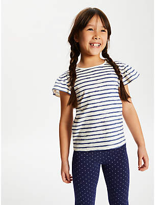 John Lewis & Partners Girls' Stripe T-Shirt, Blue/Neutral