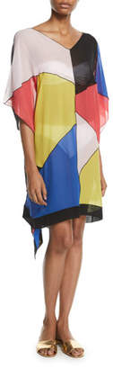 Missoni Mare Silk Colorblock Caftan Coverup