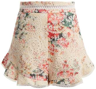 Zimmermann Laelia Diamond floral-print cotton shorts