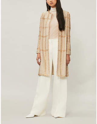 St. John Embellished check boucle jacket