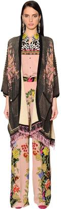 Etro PRINTED & FRINGED COTTON KNIT CARDIGAN