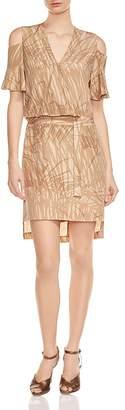 HALSTON HERITAGE Printed Cold-Shoulder Dress $295 thestylecure.com