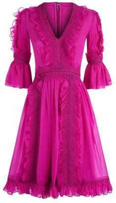 Costarellos Guipure Trim V-Neck Dress