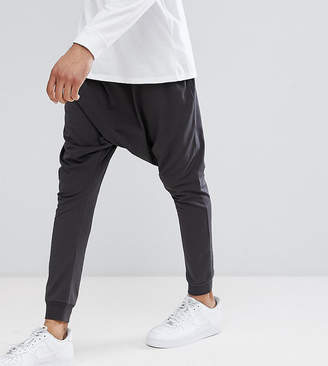 Asos Tall Lightweight Extreme Drop Crotch Jogger In Washed Black