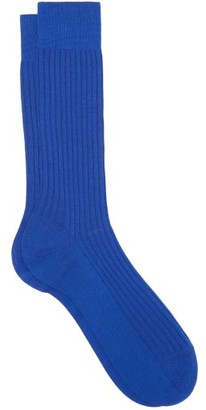 Pantherella Danvers Ribbed Knit Socks - Mens - Blue