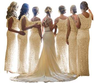 D.W.U Sparkly Sequin Maxi Bridesmaid Dresses Garden Wedding Prom Gowns