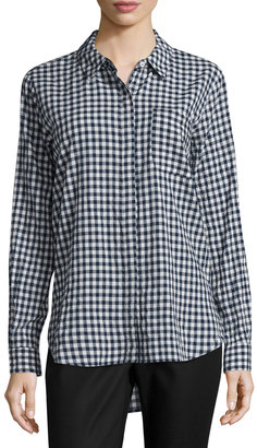 Vince Camuto Gingham Button-Down Blouse, Navy $59 thestylecure.com