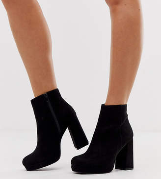 New Look Wide Fit faux suede platform heeled boots in black