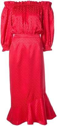 Saloni ruffle mini off-shoulder dress