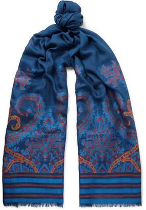 Etro Wool-Blend Jacquard Scarf - Storm blue