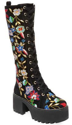 Alice + Olivia Raye Embroidered Combat Boot
