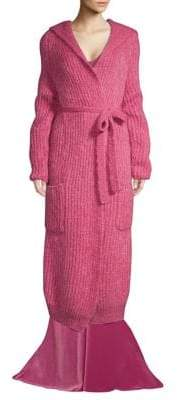 Max Mara Ovada Long Ribbed Mohair Belted Cardigan
