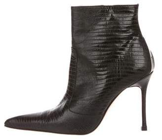 Versace Lizard Pointed-Toe Boots