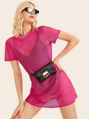 Shein Sheer Mesh Tee Dress Without Bodysuit & Bag