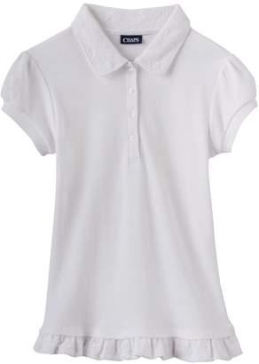 Chaps Girls 4-16 School Uniform Lace Ruffle Polo