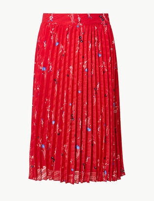 Marks and Spencer Floral Print Pleated Fit & Flare Midi Skirt