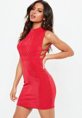 Missguided Red High Neck Side Strap Bodycon Dress