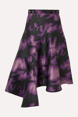 Marques Almeida Marques' Almeida - Asymmetric Printed Brocade Wrap Midi Skirt - Purple