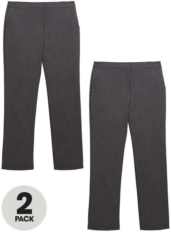 Very Schoolwear Girls Woven Regular Fit School Trousers - Grey