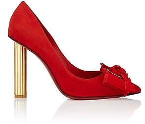 Salvatore Ferragamo Women's Flower-Heel Suede Pumps-Red