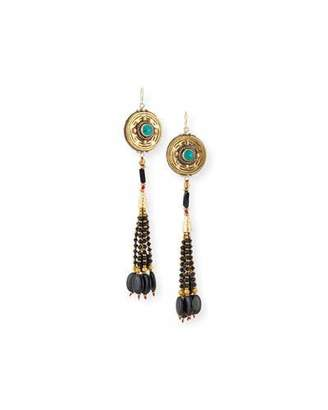 Devon Leigh Antiqued Turquoise & Onyx Beaded Earrings