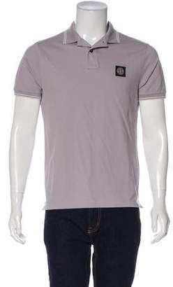 Stone Island Logo Appliqué Striped Polo Shirt w/ Tags