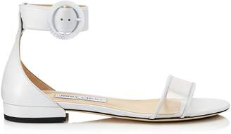 Jimmy Choo JAIMIE FLAT White Nappa Leather and Clear Plexi Sandal with Round Buckle Fastening