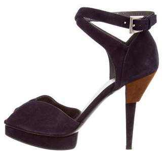 Prada Scamosciato Ankle-Wrap Sandals