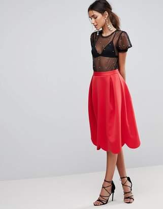 Asos Design Scuba Prom Skirt with Scallop Hem