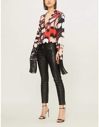 Alexander McQueen Butterfly-print fringe-trim silk-satin shirt