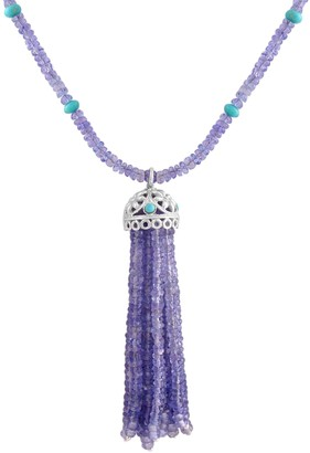 Tanzanite & Turquoise Bead Tassel Necklace, Sterling