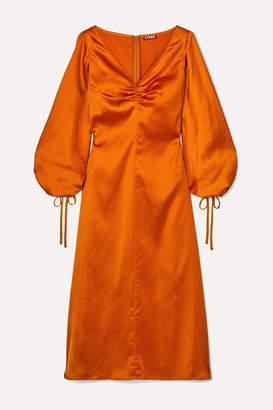 STAUD Sofia Ruched Satin Midi Dress - Orange