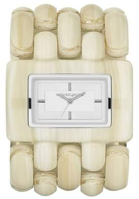 Michael Kors Stainless Steel and Ceramic Bead Rio Alabaster 46mm Cuff Watch