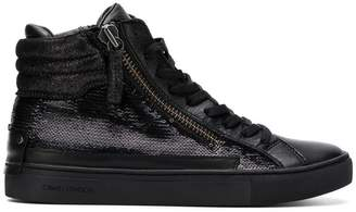 Crime London sequin hi-top sneakers
