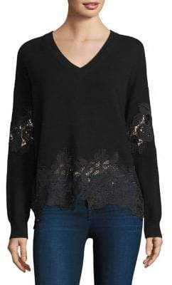 The Kooples V-Neck Sweater With Lace