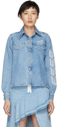 Off-White Off White Blue Denim Crop Front Shirt